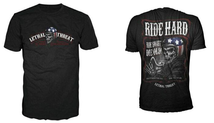 【LT0001】 Lethal Threat Men's Ride Hard T-Shirt:M