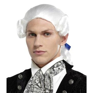 貴族 ホワイト 白 ウィッグ、かつら  大人男性用 PONYTAIL BOW