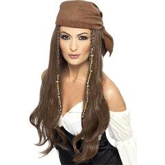 ウィッグ バンダナ 茶 女海賊風 ロング 大人女性用 Pirate Wig c5
