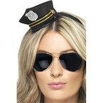 帽子 黒 警察官風 公務員 アクセサリー ミニ ロープ 大人女性用 Mini Cop Hat コスプレ