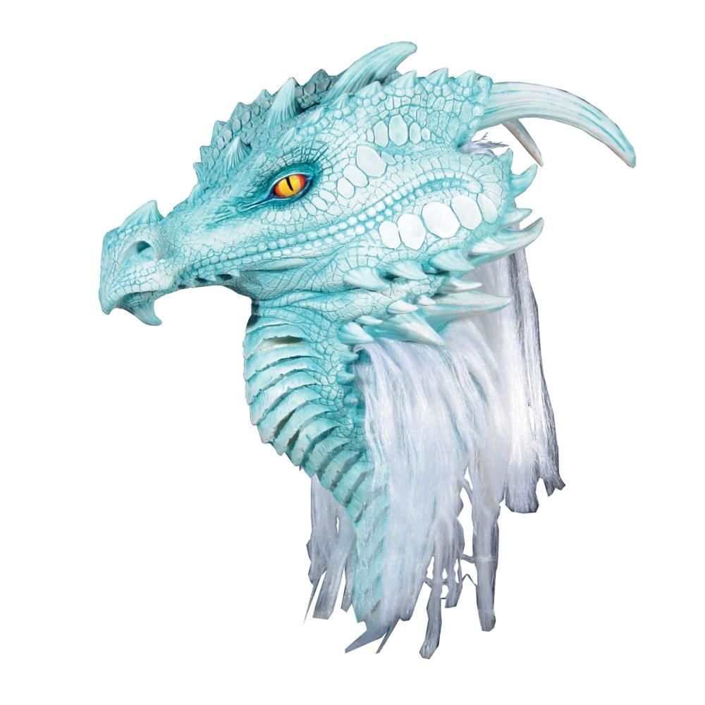 ドラゴン 龍 マスク 大人用 ホワイト/ブルー たてがみ付き ARCTIC DRAGON PREMIERE MASK コスプレ画像