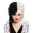 クルエラ ウィッグ 大人女性用 101匹わんちゃん DELUXE ディズニーヴィランズ 仮装 ブラック/ホワイト ミディアム コスプレ