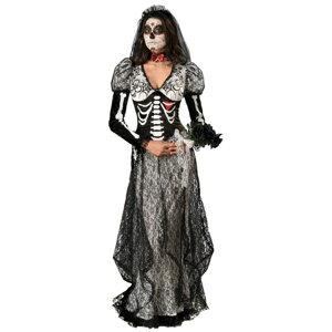 Boneyard Bride 骸骨 ドクロ 衣装、コスチューム 大人女性用 花嫁 新婦 ホラー HQ