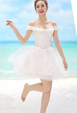 ウェディングドレス ホワイト ミニドレス パーティードレス ワンピース 忘年会 ショート丈 二次会 演奏会 披露宴 結婚式 発表会