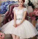 ウェディングドレス ホワイト ミニドレス パーティードレス ...