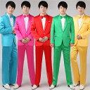 5色入荷 メンズ スーツ スーツセット 上下セット タキシード メンズ タキシードフォーマル 結婚式/パーティ/司会 スーツ/ズボン/蝶タイ/カマーベルトの4点セット・・・