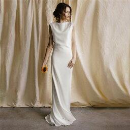 ホワイト ウェディングドレス Aライン ロングドレス イブニングドレス ノースリーブ トレーン 丸襟 ファスナータイプ xs〜xl Wedding Dress お花嫁 結婚式 旅行撮影演出 レディースウェディングドレス エレガント パーティードレス マーメイドドレス