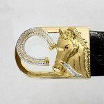 【中古】18金ダイヤ0.75ct馬デザインバックル新品クロコダイルベルト付き