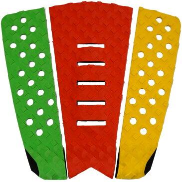 3P サーフボード デッキパッド Tail Pad ショートボード ロングボード Deck Pad パドルボード 3ピース グリップ テープ (グリーン + 赤 + 黄色)