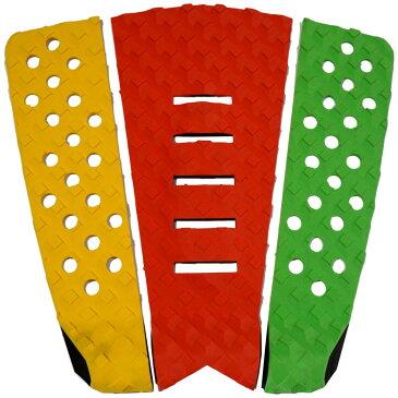 3P サーフボード デッキパッド Tail Pad ショートボード ロングボード Deck Pad パドルボード 3ピース グリップ テープ (黄色 + 赤 + グリーン)