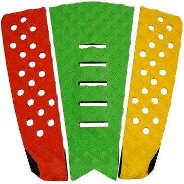 3P サーフボード デッキパッド Tail Pad ショートボード ロングボード Deck Pad パドルボード 3ピース グリップ テープ (赤 + グリーン + 黄色)