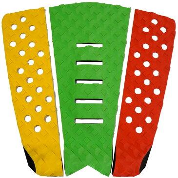 3P サーフボード デッキパッド Tail Pad ショートボード ロングボード Deck Pad パドルボード 3ピース グリップ テープ (黄色 + グリーン + 赤)
