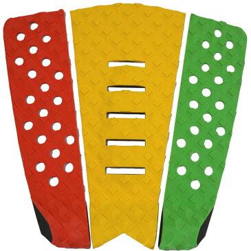 3P サーフボード デッキパッド Tail Pad ショートボード ロングボード Deck Pad パドルボード 3ピース グリップ テープ (赤 + 黄色 + グリーン)
