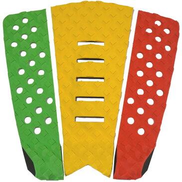 3P サーフボード デッキパッド Tail Pad ショートボード ロングボード Deck Pad パドルボード 3ピース グリップ テープ (グリーン + 黄色 + 赤)