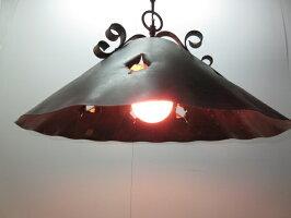【中古】ペンダントライトML-54アンティーク電球付きブロンズおしゃれ照明モダンビンテージアイアンライト天井照明金属吊り下げ照明アイアンシェード銅
