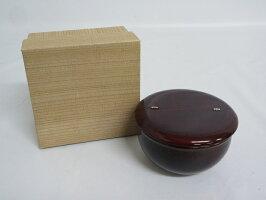 60【未使用品】老松棗茶道具なつめ元箱入り老松棗溜塗り木製抹茶茶道