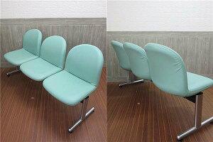 【中古】コクヨロビーチェア3人用レザー調グリーンKOKUYOスチール脚待合室イス椅子いす3人掛けロビー用チェア待合椅子長椅子背もたれ付き緑