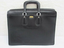 別100【中古】Peaceビジネスバッグブラックレザーメンズ黒鞄ブリーフケーススリムに見えて大容量就活通勤書類鍵付き
