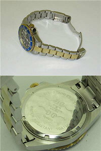 【中古】テクノス腕時計TAM629ブルー&ゴールドSWISSTECHNOS時計メンズスイス10気圧防水日付表示回転ベゼル