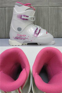 【中古】ハートスキーブーツジュニア24cmホワイト×ピンクHartスキーブーツスキー靴くつ日本製DIVAF5ウィンタースポーツ子供用女の子キッズ白