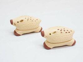 レタ【未使用品】香合亥2個セット干支香合茶道具イノシシ猪抹茶茶道香器香道具