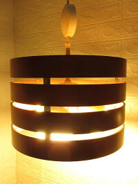 100【中古】長澤ライティングペンダントライト3K-W1003灯ウッドNAGASAWAサークルリング調光可照明木製シェードライトランプインテリア吊り下げ照明引き紐