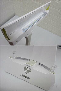 【中古】ツインバードデスクライトLE-H842BホワイトLEDTWINBIRDブックスタンド付き卓上ライト白照明フレキシブルアーム目が疲れにくい