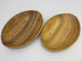 60【未使用品】木製プレート2枚セット大皿楕円オーバル天然木ウッドプレートウッドディッシュ食器木目木器カフェ風おしゃれエッグ型lupa