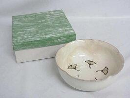 60【未使用品】美濃焼き正月窯中鉢元箱付き陶器製粉引銀杏柄茶道具