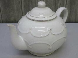 80【中古】ジュリスカティーポットホワイト2L洋風お茶JuliskaBERRY&THREADコレクションハンドメイド白洋食器陶器ポルトガル製