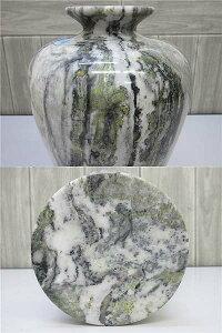 【未使用品】高麗大理石壺マーブルモノトーン系グリーン花瓶花器フラワーベース大きめ証明書付白黒緑重厚装飾和風インテリア