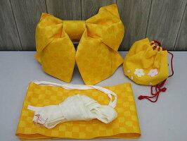80【中古】ゆかた用結び帯黄色つくり帯子供女性リボン簡単差し込むだけ浴衣可愛い鮮やかキッズジュニアレディース張りのある生地