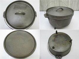 【中古】コールマンダッチオーブン10inchケース付きColeman鉄製鍋アウトドアキャンプ25cmオーブン煮る蒸す炊くフタで焼く燻製スモーク