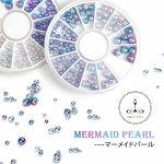 グラデーションパールマーメイドパール球体半円2色3サイズ【ネイルデコレジンクラフト】
