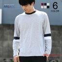 長袖Tシャツ 袖切り替え クルーネック Tシャツ メンズ カットソー ロンT トップス メンズファッション インナー カジュアル ブラック ホワイト ネイビー ピンク グレー