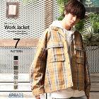 ワークジャケットメンズビッグシルエットブルゾン無地ストリート春韓国ワーカージャケットワーカーズジャケット