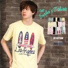 Tシャツメンズ夏半袖サーフプリントTデザイン綿100%メンズファッショントップスカットソー