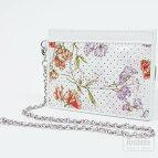 ホワイトに赤と紫スイートピー花柄プリントパンチングレザーチェーン付きパスケース定期入れ