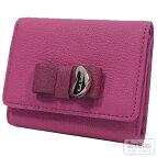 ピンクコントラストリボンシリーズ赤リボン付きコンパクト3折財布