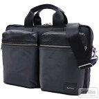 ブラック黒レザーナイロンカラーブロック2ポケット2WAYビジネスバッグ