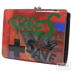 赤レッドエナメルTREESSAVELIVESシリーズがま口付き2折財布