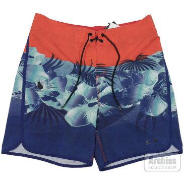 【アウトレット品】オークリー Oakley ボードショーツ オレンジ系 ブルー ネイビー カラー ブロック フラワー FLOWER BLOCK ロゴ入り 海パン メンズ 訳あり 482460X-4FRS63504