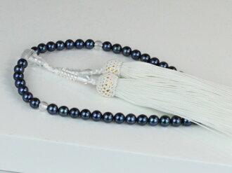 珍珠珠珍珠串念珠 Akoya 珍珠珠珍珠黑藍色 6.0-6.5 毫米白色束絲珍珠珍珠月光石