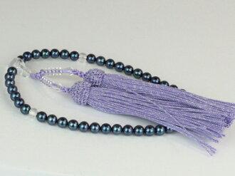 珍珠珠 Akoya 珍珠藍黑色珍珠黑色 6.0-6.5 毫米紫色珍珠串念珠 Akoya 珍珠珠串人造絲顏色珍珠珍珠月光石