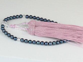 珍珠珠珍珠串念珠 Akoya 珍珠珠、 Akoya 珍珠藍黑色黑珍珠 6.0-6.5 毫米粉色束人造絲顏色珍珠珍珠月光石