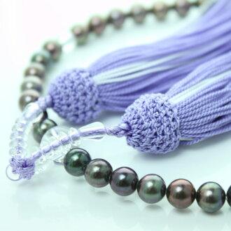 珍珠珠,在這裡或念珠 Akoya 珍珠真正珍珠珠串念珠 7.0 毫米到 7.5 毫米珍珠黑黑顏色黑色珍珠婚禮和葬禮,珍珠珍珠月光石