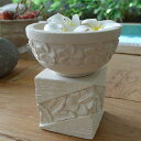 プルメリア&ハイビスカスの器セット ◆スノーストーン、プルメリア造花5個付き【 睡蓮鉢 石彫り…