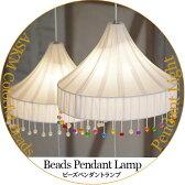 ペンダントライト 子供部屋 LED対応 2灯 プルスイッチ付 寝室 天井照明 間接照明 インテリア照明 おしゃれ 西海岸 ホワイト ミックス Beads Pendant Lamp ビーズペンダントランプ