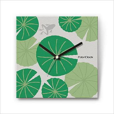 壁掛け時計 おしゃれ 【FabriClock】 ファブリクロック 蓮に蛙 FCM-WA-001 掛時計 壁時計 かけ時計 インテリア ファブリック 布 カラフル 和柄 和風 植物 動物 かえる カエル ハス 四角 とけい 緑 一人暮らし