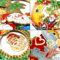 【クリスマスオーナメント】立体デザインの存在感★ペーパーオーナメントサンタクロースゆらゆら揺れる3連デザイン♪裏表のない賑やかなキャラクター!壁や扉、天井飾り★パーティやショップのディスプレイに